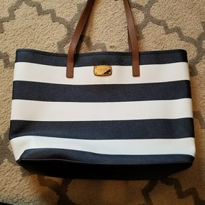 Michael kors navy blue and white tote bag